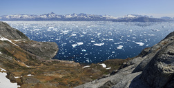 Greenland, East Greenland, Panoramic view of Fjord Sermilik - ESF01600