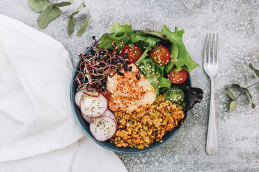 Vegan buddha bowl with hummus, quinoa with curry, lettuce, sprouts, green and red cherry tomatoes, sliced radish and sesame and poppy seeds - RTBF01230