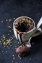 Chocolate cup cake with chocolate sauce and sugar granules - CSF29090