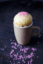 Vanilla cup cake with chocolate and pink sugar granules - CSF29093