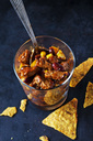 Vegetarian Chili with soy meat cut into strips in glass - CSF29120