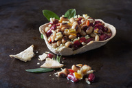 Greek bean salad in edible bowl - CSF29153