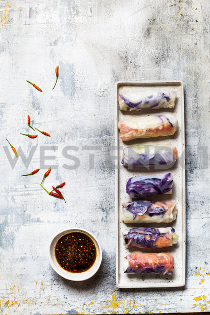 Vegan rice paper wraps (vietnamese summer rolls), filled with cabbage, carrots, bell pepper, rice noodles, and dipping sauce - SBDF03574