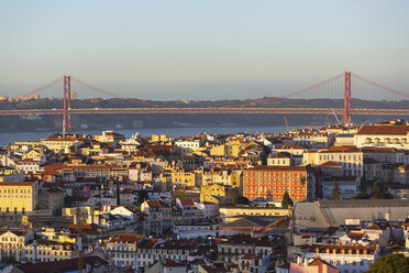 Portugal, Lisbon, cityview with 25 de Abril Bridge - WPEF00215