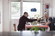 Side view of senior couple eating food at dining table against window - MASF07380