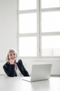 Portrait of smiling mature businesswoman with laptop at desk in the office - HHLMF00268