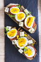 Vegetarian breakfast with bread, eggs and tomato slices on slate - GIOF03930