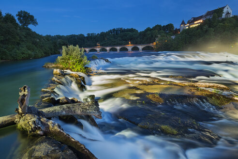 Switzerland, Schaffhausen, Rhine river, Laufen Castle and Rhein falls at blue hour - SH02036