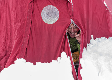 Nepal, Solo Khumbu, Mountaineer in tent at Everest Base Camp - ALRF01101
