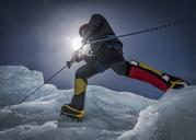 Nepal, Solo Khumbu, Everest, Mountaineers climbing on icefall - ALRF01110