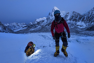 Nepal, Solo Khumbu, Mountaineers at Everest Icefall - ALRF01122