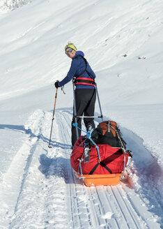 Greenland, Schweizerland Alps, Kulusuk, Tasiilaq, female ski tourer - ALRF01213
