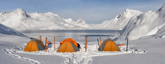 Greenland, Schweizerland Alps, Kulusuk, tents and skis - ALRF01225