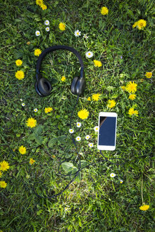 Headphones and smartphones on flower meadow - LVF06936
