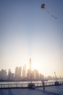 China, Shanghai, Skyline in the morning with kite - SPPF00037