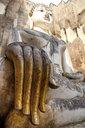 Thailand, Sukhothai, Sukhothai Historical Park, Wat Si Chum, gold plated fingers of Buddha statue - HLF01083