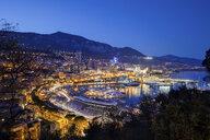 Monaco principality, city by night, view over Monte Carlo and Port Hercule at the Mediterranean Sea - ABOF00341