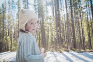 Girl with hat in forest, Alberta, Canada - CUF02001