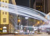 China, Hong Kong, Tsim Sha Tsui, Nathan Road at night, light trails - MKFF00373