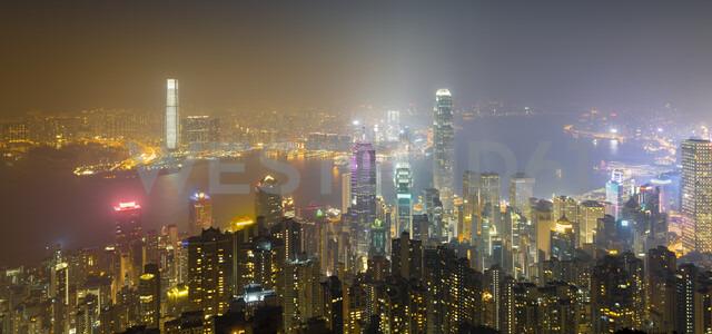 China, Hong Kong, skyline at night - MKFF00376