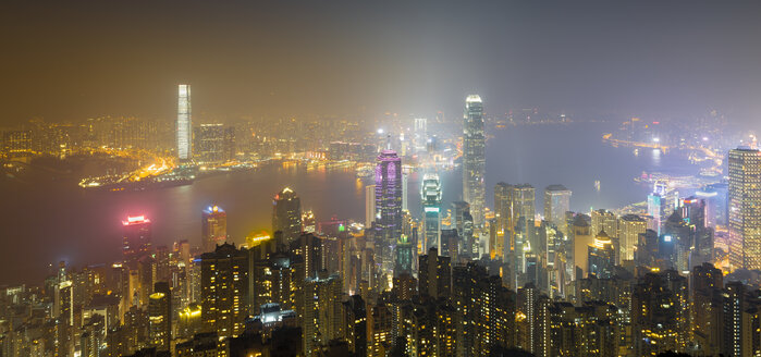 China, Hong Kong, skyline at night - MKFF00376