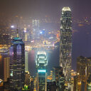 China, Hong Kong, Central and Tsim Sha Tsui at night - MKFF00382