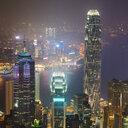 China, Hong Kong, Central and Tsim Sha Tsui at night - MKFF00382