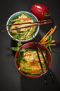 Noodle soup with mie noodles, carrot, green bean, paprika, mint and chili - MAEF12577