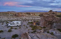 Recreational vehicle, travelling at dusk, Oruro, Oruro, Bolivia, South America - CUF02601