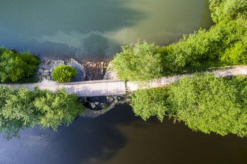 Germany, Baden-Wuerttemberg, Schurwald, Aerial view of bridge, Herrenbach reservoir - STSF01548