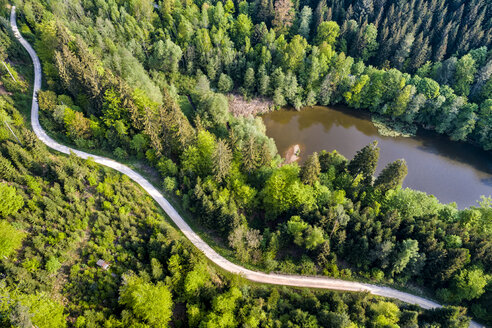 Germany, Baden-Wuerttemberg, Schurwald, Aerial view of road at Herrenbach reservoir - STSF01551