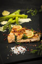Salmon and green asparagus on slate - MAEF12587
