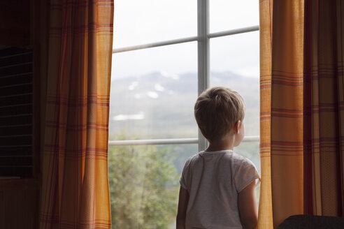 Boy looking through curtained window - CUF03007