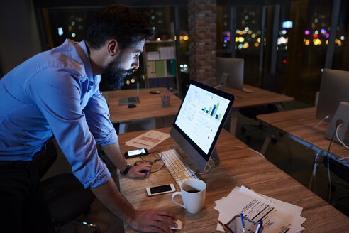 Young businessman working at computer on office desk at night - CUF03310
