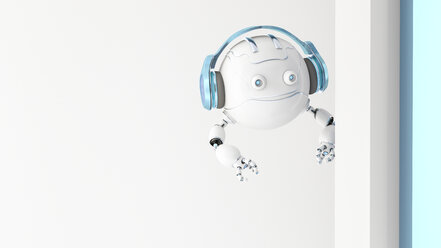 Robotic drone wearing headphones looking around the corner, 3d rendering - AHUF00490