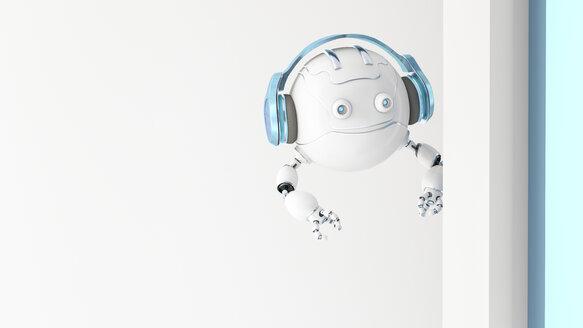 Robotic drone wearing headphones looking around the corner, 3d rendering - AHUF00490