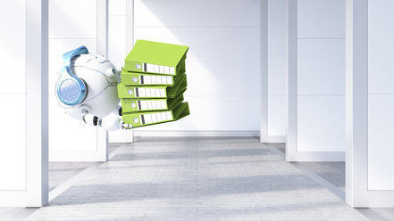 Robotic drone carrying file stack, 3d rendering - AHUF00493