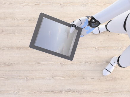 Robot holding tablet in his hand, 3d rendering - AHUF00499