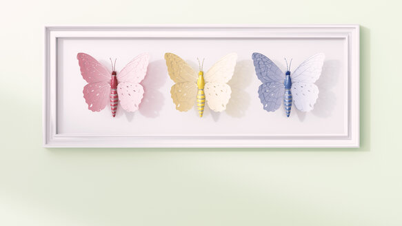 Artificial technical butterflies in a frame, 3d rendering - AHUF00502