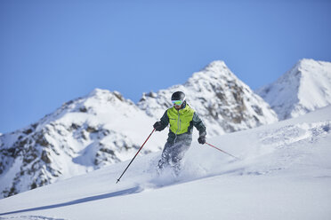 Austria, Tyrol, Kuehtai, man skiing in winter landscape - CVF00506