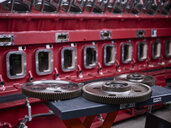 Cogwheels in front of engine block - CVF00517