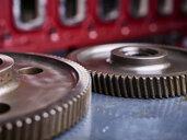 Cogwheels in front of engine block - CVF00523