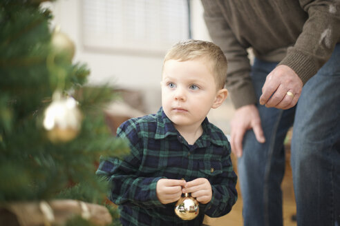 Senior man and grandson placing baubles on christmas tree - CUF05775