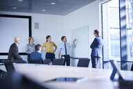 Businessman making whiteboard presentation in conference room meeting - CUF06607