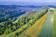 Germany, Baden-Wuerttemberg, Rems-Murr-Kreis, Swabian Franconian forest, Aerial view of fields and forest - STSF01552
