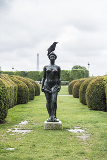 France, Paris, raven perching on sculpture at Jardin des Tuileries - CHP00462