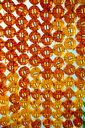 South Korea, Seoul, Yellow and orange lanterns, upward view - GEMF01983
