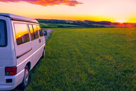 Austria, Upper Austria, Camper at sunset - AIF00491