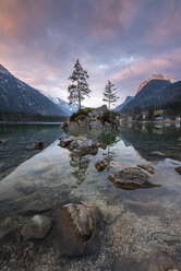 Germany, Bavaria, Berchtesgaden Alps, Lake Hintersee in the morning - MBOF00040