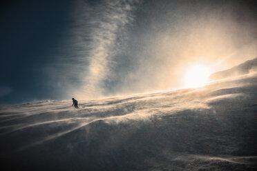 Skier skiing downhill in sunlight, Lenzerheide, Swiss Alps, Switzerland - CUF07662